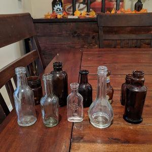 Set of 10 vintage mini glass bottles